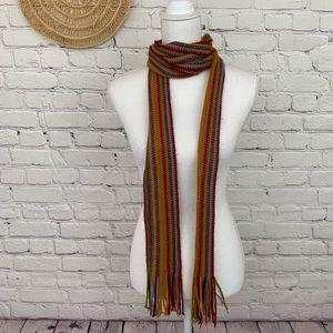 Extra long boho multi colored skinny scarf